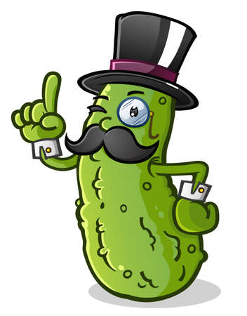 pepino caricatura: Gentleman Pickle personaje de dibujos animados con un bigote, mon�culo y sombrero de copa