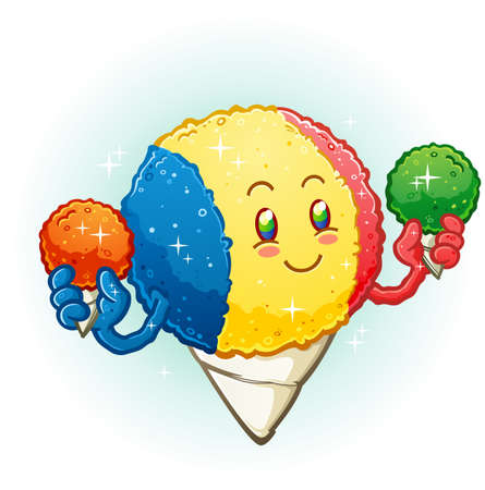 Snow Cone Cartoon Character Holding Frozen Flavored Ice Treats