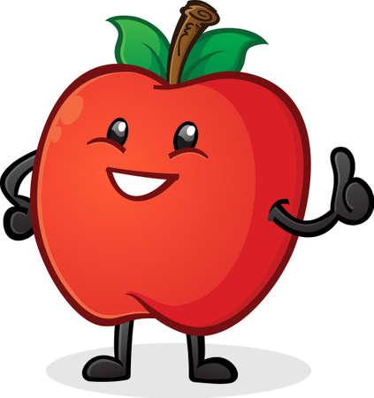 Apple Thumbs Up Cartoon Character