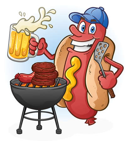 cartoon summer: Hot Dog Cartoon Tailgating with Beer and BBQ Cartoon Character