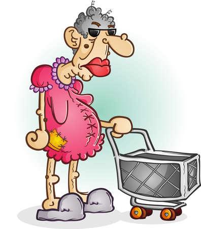 ショッピング カート漫画のキャラクターと気難しい老婦人