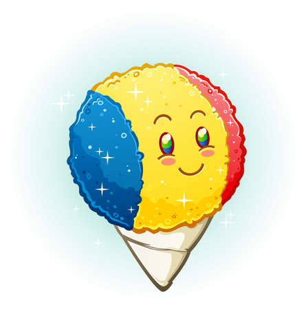 snow  ice: Snow Cone Cartoon Character Smiling with Rosy Cheeks Illustration