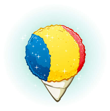 Snow Cone Cartoon Illustration Vettoriali