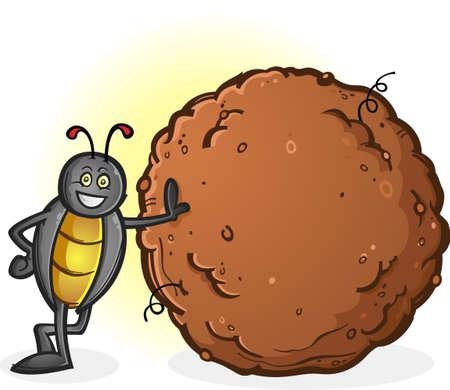 糞漫画のキャラクターの大きなボールとフンコロガシ  イラスト・ベクター素材