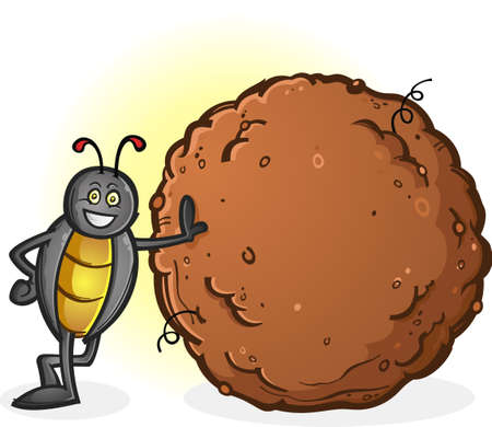 Dung Beetle with a Big Ball of Poop Cartoon Character Ilustração