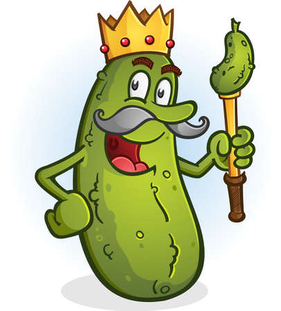 Pickle King Cartoon Character wearing a Crown Ilustração
