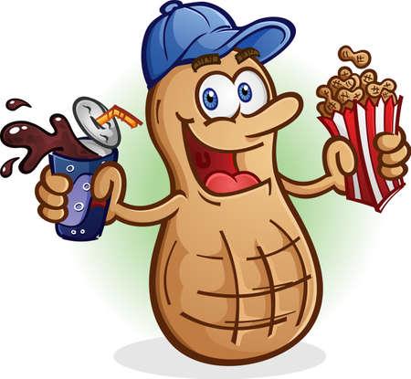 Peanut Cartoon Character Sports Fan Drinking Soda Pop Vectores