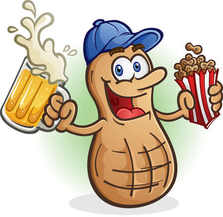 Peanut Cartoon Character Sports Fan Drinking Beer Illustration