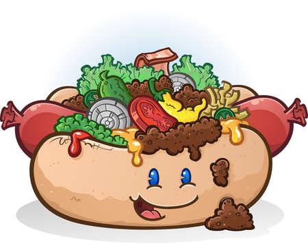 Hot Dog Cartoon-Figur mit Toppings Standard-Bild - 41138699