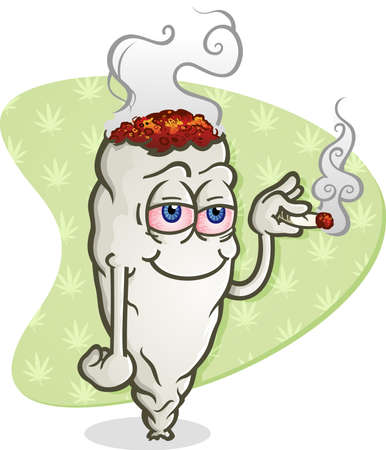 thc: Marijuana Cartoon Character Smoking a Joint