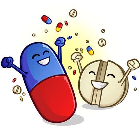 Happy pills cartoon characters cheering