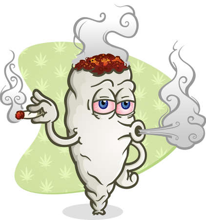 Marijuana smoking a joint cartoon character getting high and blowing a big puff of smoke