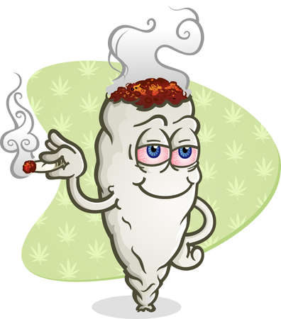 Marijuana smoking a joint cartoon character getting high and grinning happily Illustration