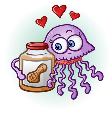 couple dating: Peanut Butter and Jelly Fish Cartoon Character Illustration