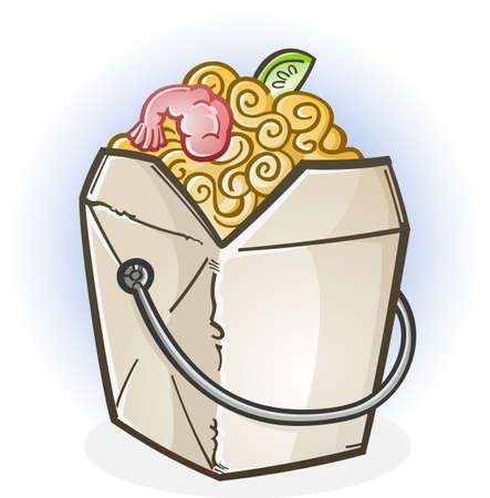 Chinese Food Take Out Box Cartoon Illustration
