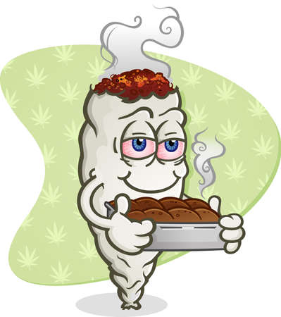 marijuana: Marijuana Joint Cartoon Character with Pot Brownies