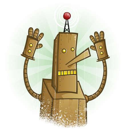 droid: Robot Panic Cartoon Character Illustration