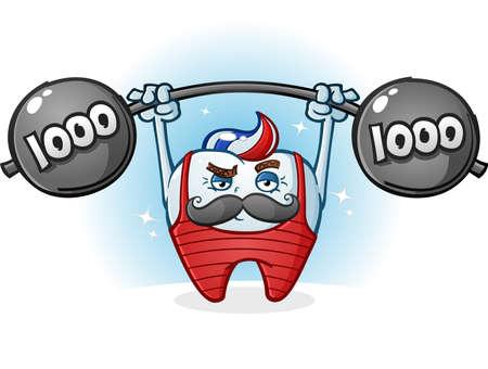 builder cartoon: Tooth Retro Body Builder Cartoon Character with Mustache Illustration