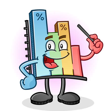 bar graph: Bar Graph Cartoon Character with Pointer