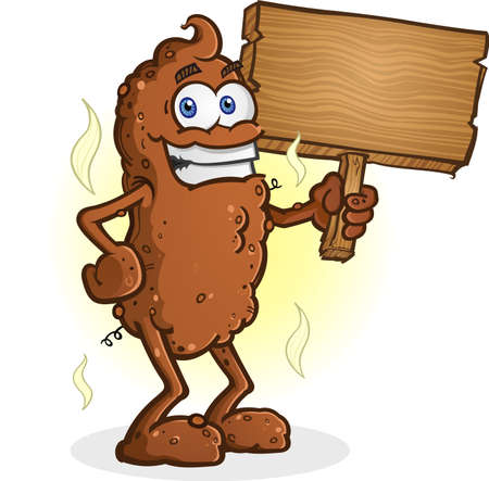 feces: Poop Cartoon Character Standing Illustration
