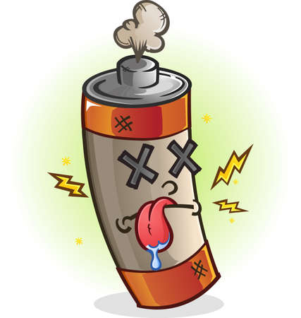 Dead Battery Cartoon Character