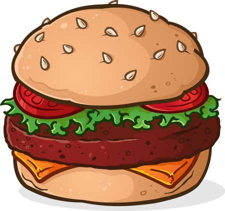 큰 수분이 많은 햄버거 만화