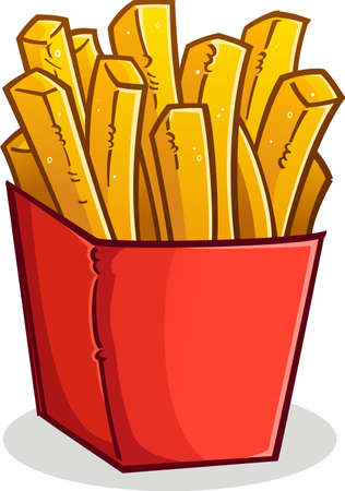 French Fries in a Red Box Cartoon