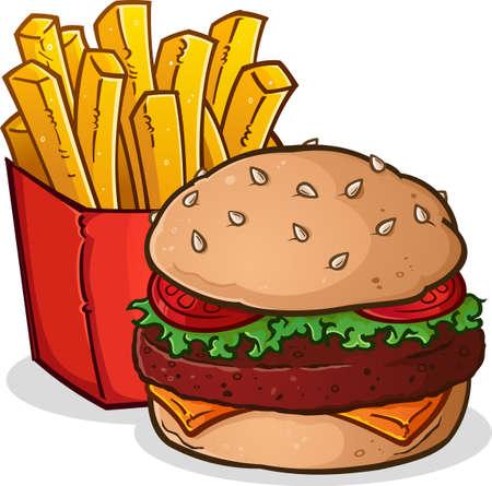 comida chatarra: Hamburguesa con queso y papas a la francesa ilustración de dibujos animados