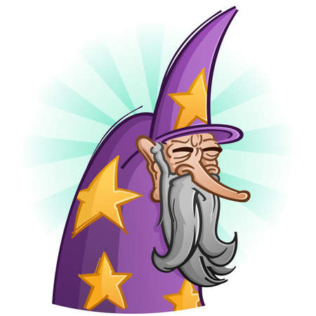 a legend of magic: Wise Old Bearded Wizard Cartoon
