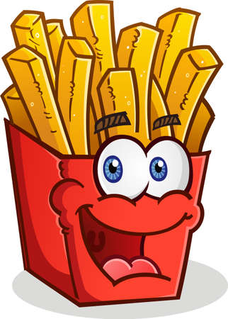 deep fried: French Fries Cartoon Character Illustration
