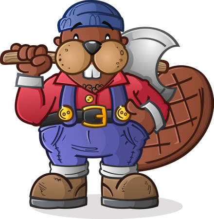 chest wall: Beaver Lumberjack Cartoon Character Illustration