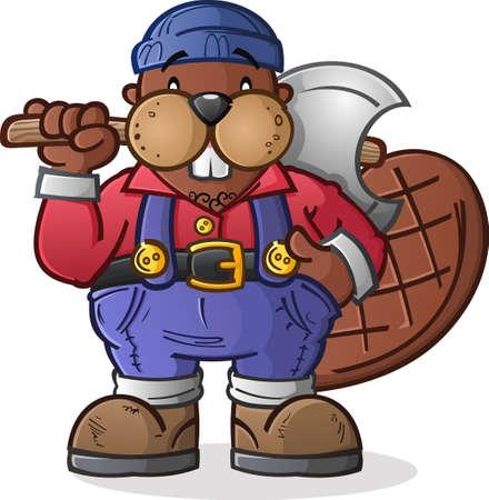 woodcutter: Beaver Lumberjack Cartoon Character Illustration