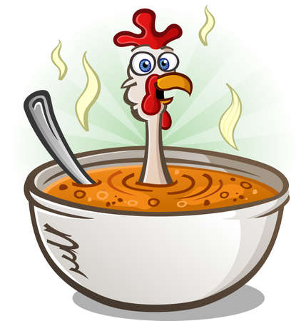 farm animal cartoon: Chicken Soup Cartoon Character