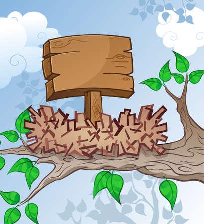 clouds cartoon: Wooden Sign in a Bird Nest Cartoon Illustration