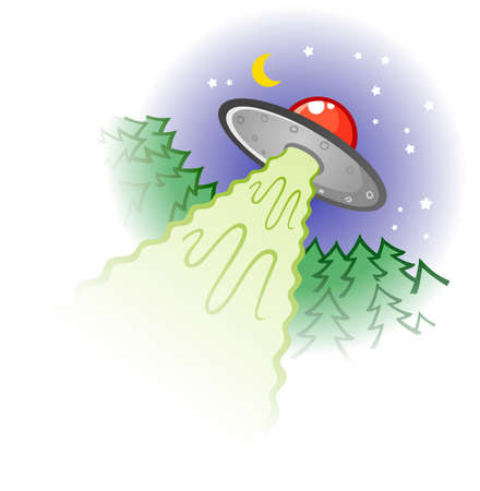 flying saucer: Flying Saucer Cartoon Illustration