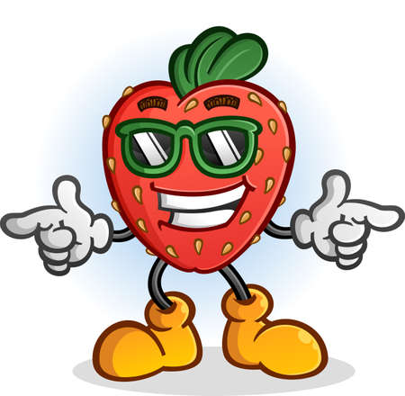 Strawberry Cartoon Character with Attitude Wearing Sunglasses