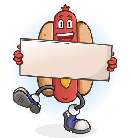 Hot Dog Cartoon Character Holding a Sign Illustration