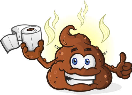 feces: Smiling Pile of Poop Cartoon Character Holding Toilet Paper and Giving a Thumbs Up