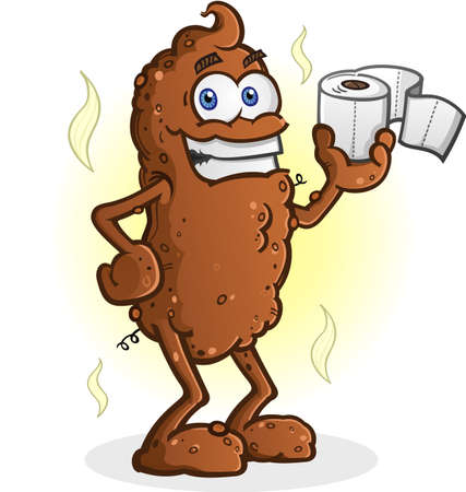 feces: Poop Cartoon Character Standing and Holding Toilet Paper