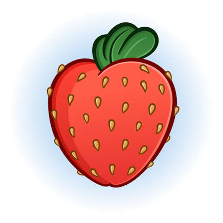 plump: Plump Juicy Strawberry Cartoon Illustration
