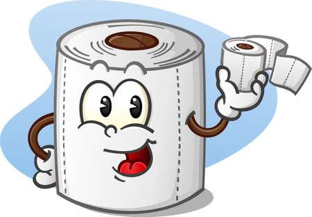 トイレット ペーパーのロールを保持している幸せのトイレット ペーパーの漫画のキャラクター  イラスト・ベクター素材