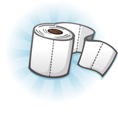 wiping: Toilet Paper Cartoon Illustration