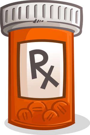 Pill bottle illustration on white background.