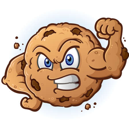 Tough Cookie Flexing Muscle Cartoon Character