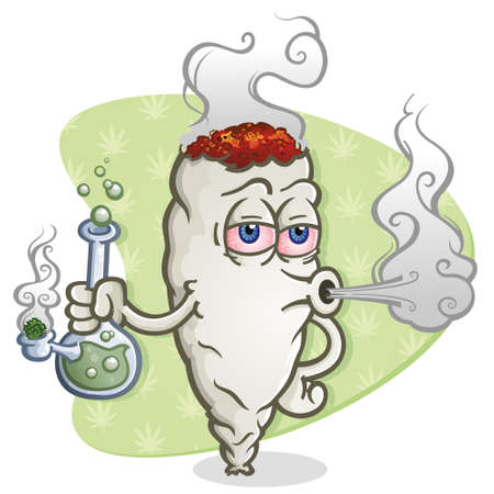 Marijuana Joint Cartoon Character Smoking a Bong Vector illustration. Çizim