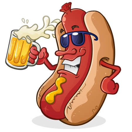 Hot Dog Cartoon Character Wearing Sunglasses and Drinking a Mug of Beer With Sunglasses and Attitude