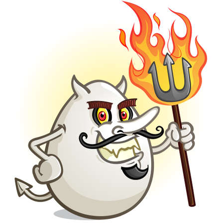 A Deviled Egg Cartoon Character Holding a Flaming Pitch Fork