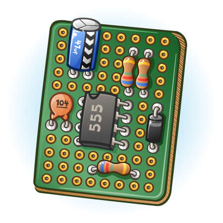 Circuit Board PCB Cartoon Illustration