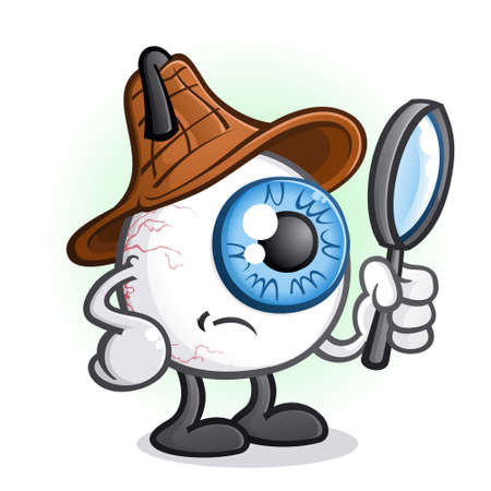 Private Eye Ball Detective Cartoon Character 矢量图像