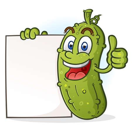 Ein fröhlicher grüner Essiggurken-Zeichentrickfilm-Charakter, der einen Daumen aufgibt und ein weißes Schildplakat hält